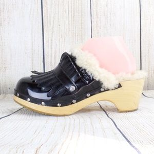 UGG Black Patent Leather Kiltie Clogs Shearling 10